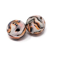Polymer Clay Round Bead - Blue/Orange